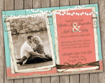 Coral and turquoise Wedding Invitation, Country Wedding, Mason Jar and Lights, Rustic, Burlap and Lace Invitation