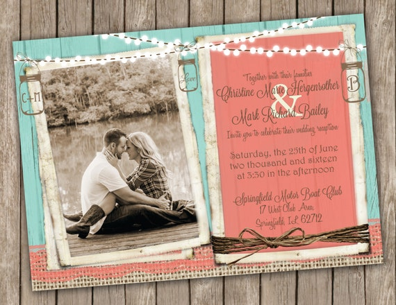 Turquoise And Coral Wedding Invitations: Coral And Turquoise Wedding Invitation Country Wedding Mason