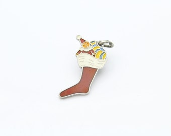 Wells Vintage Enamel Christmas Stocking Charm in Sterling Silver. [8518]
