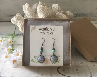 Gemstone and Turquoise - Antique Bronze  Earrings