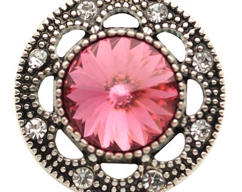KB6836  Faceted Dark Pink Crystal Surrounded by Marcasite Silver & Clear Crystals