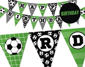 Soccer bunting banner, to decor your birthday party. Digital Birthday bunting banner - Printable PDF file.