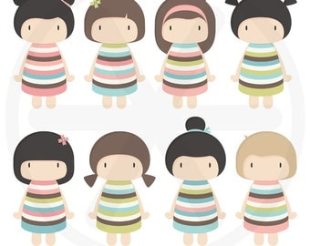 Cute dolls clipart pack - Kawaii girls images - Cute little girls - Kawaii dolls images, to use in scrapbooking, card making - PNG and PDF