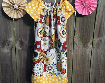 Fall Peasant Dress Floral Print With Mustard Yellow Polka Dots
