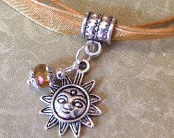 Sun Golden Yellow Necklace Hippie Nature Tan