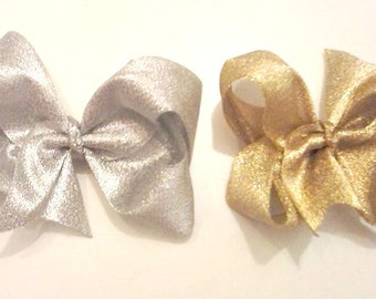 Gold Hair Bows , Silver Hair Bows , Set of Hair Bows , Hair Bow Set , Glitter Hair Bows , Sparkle Hair Bows , Metallic Hair Bows