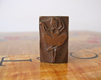 Antique Ballerina Printing Block / Vintage Metal/Copper Letterpress Typeface Block