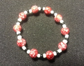 Marble Red with white & black beads