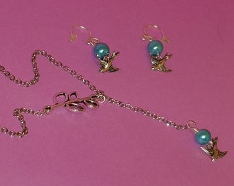 Mint Green Glass Pearl Swallow Necklace and Earring Set