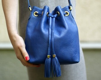 Free shipping! Blue bag, leather bag, leather crossbody, bucket bag, blue leather bag, shoulder bag, blue bucket bag