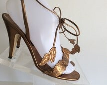 COPPER GODDESS Vintage 80s Carrano Strappy Metallic Italian Leather Open Toe High Heel Sandals with Ankle Straps. Size 38.5 8 1/2