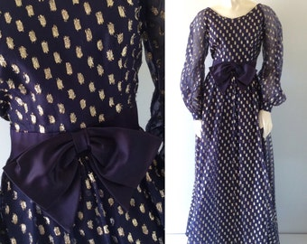GLAMOROUS GOLD and Navy Blue Vintage 60s 70s Metallic Dot Sheer Sleeve Long Ball Gown Evening Dress