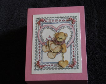 Handmade 3D Wooden Box with Teddy Bear/Heart design