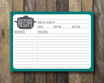 Printable 5x7 Recipe Card - Instant Download