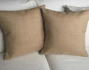 Set of 2 Burlap Pillow Covers - Fits 16 x 16 Pillow Insert -Ships Within 3 DAYS!