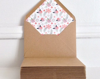 Set of Lined Kraft Envelopes, Wedding Invitation Envelopes, Rustic Wedding, Floral Kraft Envelopes, Handmade, Folk Floral Envelopes