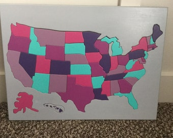 Handmade Wooden Puzzle of the 50 United States