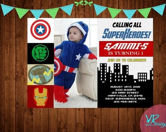 The Avengers with Photo Birthday Invitation, Digital File, DIY Printing PLUS FREE Thank you card!