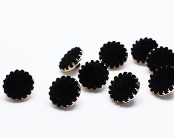 Black Velvet Shank Buttons, Coat Button, Vintage Style Shanks Button, Retro Style Button, Elegant Woman Button, 18mm
