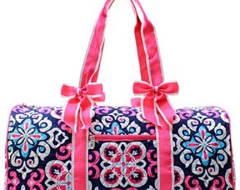 Quilted Geometric Shoulder Duffel Bag WITH FREE MONOGRAM