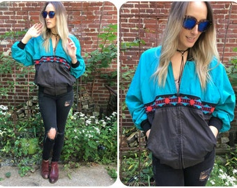 Boho Aztec Windbreaker Jacket Vintage 1980s MADE IN USA