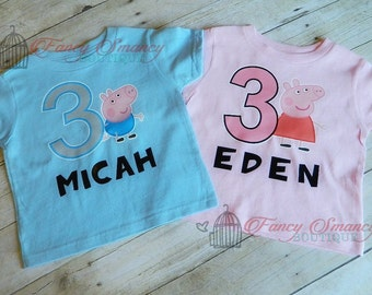 Personalized Peppa Pig Birthday Party Shirt 1st 2nd 3rd 4th Custom Name Age Girl Girls Boys