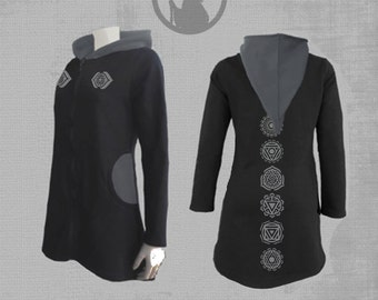 Womens hooded jacket  with CHAKRAS MANDALAS vinyl print-psy clothing - trance- festival- blacklight active-Burning man