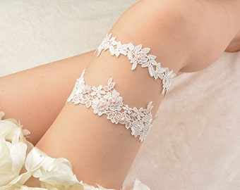 bridal garter set, wedding garter set, toss garter, lace garter, beaded garter set,garters for wedding,pink flower garter,off white garter