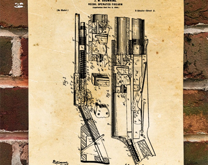 KillerBeeMoto: Duplicate of Original U.S. Patent Drawing For Vintage Recoil Operated Shotgun