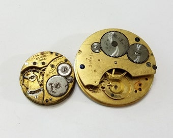 Antique, Elgin, Pocket Watch Movement Set, Gilt, Dial, Steampunk, Altered Art, Assemblage, Beading, Jewelry, Supply, Supplies