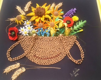 45 x 45 cm-square basket of wild flowers quilling (frame included)