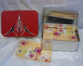 Metal hand painted Notelets tin