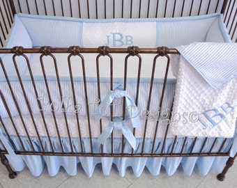 Seersucker Baby Blue & White  : Jeremiah is our Light and Airy coastal southern baby bedding.  Also Available in Pink and White!
