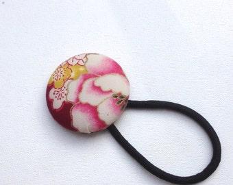 Japanese hair elastic, red floral hair elastic, covered Button Hair Elastic, Japanese pattern fabric