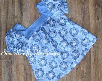 Girl's Top - Light Blue Flower Bandana Print - Elastic Sleeve Top