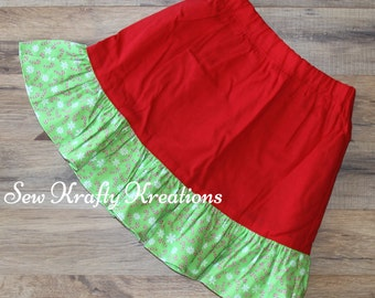 Girl's Skirt - Red with Green Candy Cane Print Ruffle