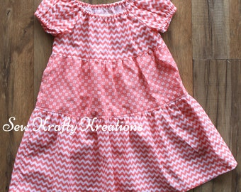 Girl's Dress - Coral Chevron/Flowers - Tiered Dress