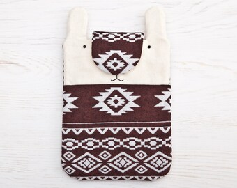 Brown ipad mini case, Kindle Fire Cover, Kindle Paperwhite, iPad mini sleeve, Kindle Sleeve, Tablet case, Bunny, Rabbit