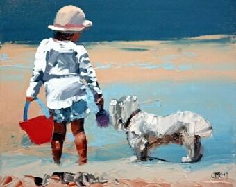Canvas print, of my, original artwork, impressionist, oil painting, 'Sand Play Petite II', dog wall art, beach art, beach house decor.