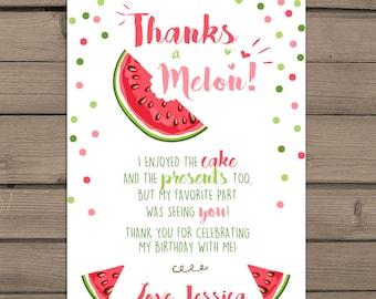 Watermelon Thank you card Watermelon Birthday Party Thank you card Watermelon Party Melon party Thanks a melon Summer Fruit DIY PRINTABLE