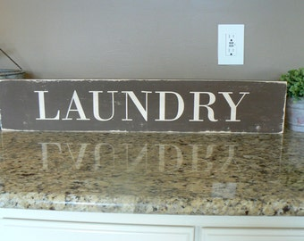 Laundry sign - HAND PAINTED, distressed, wooden