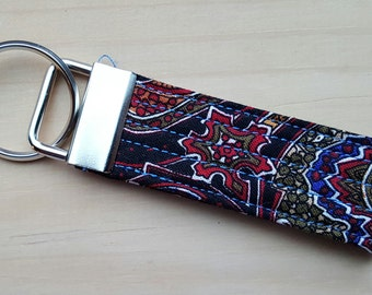 Quilted Key Chain   Black, Red, Blue and Yellow Paisley Floral Print