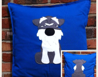 Minature Schnauzer - Blue reversible Cushion with a tail