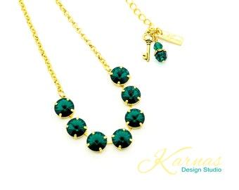 DESIGN YOUR 1/2 NECKLACE 12mm Size Made With Swarovski Crystal *Choose Finish & Colors *Karnas Design Studio *Free Shipping*