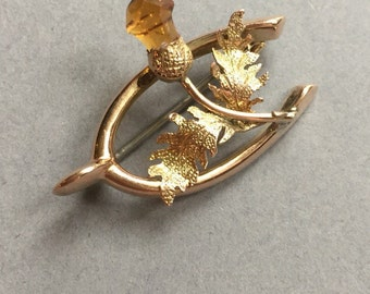 9ct Gold Topaz thistle, wishbone brooch