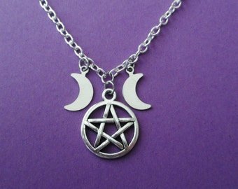 triple moon pentacle necklace, pentagram necklace, moon necklace, witchy jewely, nu goth, pastel goth