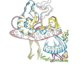 Flour sack towel Embroidered - Alice in Wonderland blue caterpillar- kitchen towel