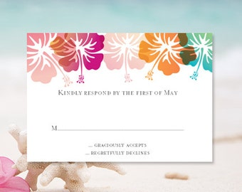 "RSVP Card ""Hibiscus"" Printable Response Template for Tropical, Beach or Hawaiian Theme Word w. Editable Text Instant Download You Print"