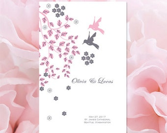 catholic wedding program blush pink and gray birds flying together printable order of service template make your own diy you print