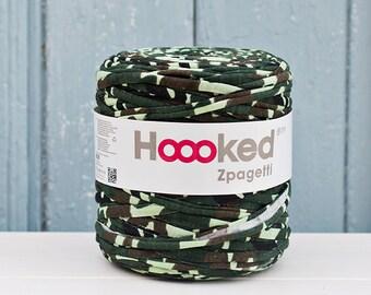 t-shirt yarn 135 yards, ecologic cotton, Zpagetti, Army, recycled yarn, cotton yarn, elastic yarn